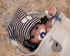 """OOAK 5 6"""" Baby Boy Doll Clothes Acc Whales 5 PC for Mini Reborn Berenguer 