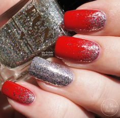 Nails for teens Nail Designs Red And Silver For Teens - nail design red and silver gradient glitter art nails. Nail Designs Red And Silver For Teens - nail design red and silver gradient glitter art nails acrylic Red And Silver Nails, Red Gel Nails, Silver Nail Art, Silver Glitter Nails, Red Acrylic Nails, French Manicure Nails, Red Nail Art, Glitter Nail Art, Gradient Nails