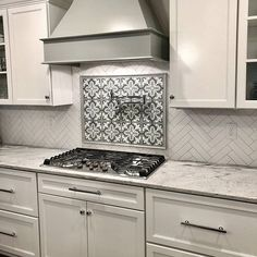 Now that's what we call a backsplash! Incredible work by & featuring our Florence 4 pattern from - Cement tile for the win.he backsplash may be). Metal Kitchen Cabinets, Kitchen Hoods, Kitchen Stove, Kitchen Cabinet Design, Kitchen Redo, Kitchen Tiles, Home Decor Kitchen, New Kitchen, Kitchen Art
