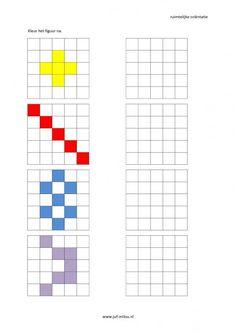 * Werkbladen: 27 verschillende van makkelijk naar moeilijk, ruimtelijke orientatie - nakleuren ~ Preschool Printables, Preschool Worksheets, Kindergarten Activities, Learning Activities, Preschool Activities, Symmetry Worksheets, Visual Perceptual Activities, Graph Paper Art, Montessori Math