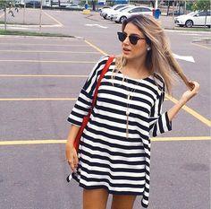 camiseta-vestido-listras-preto-branco-listrado-looks-street-style