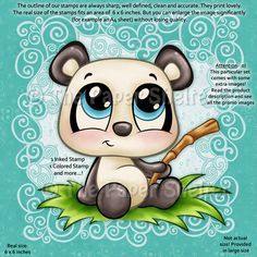 Digital Stamps : Digital stamp, scrapboking, crafts, doodles, cliparts & templates by The Paper Shelter Panda Love, Cute Panda, Panda Bear, Cartoon Drawings, Cute Drawings, Cartoon Art, Cute Images, Cute Pictures, Baby Animals