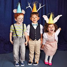 "Pair classic party hats with homemade animal ears and face paint to turn kids into ""party animals."""