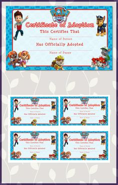 Paw Patrol Birthday Adoption Certificate Blue * Paw Patrol Birthday * Paw Patrol Sign * Paw Patrol Favors