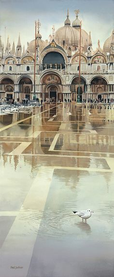 'Floating Palace' watercolor by Paul Jackson (St. Mark's Basilica, Venice, is reflected in a watery St. Mark's Square) Art Watercolor, Watercolor Landscape, Chiaroscuro, Paul Jackson, Jackson House, Byzantine Architecture, Watercolor Architecture, Photo Images, Poster Prints