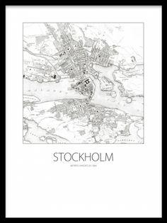 Poster med Stockholmskarta, gammalt svartvitt motiv. Desenio.se / Desenio.com