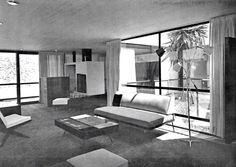 Vista de la estancia de una casa en Pedregal, Jardines del Pedregal, México DF 1955 Arq. Mauel Rosen Morrison Livingroom of a house in Pedregal, Mexico City 1955