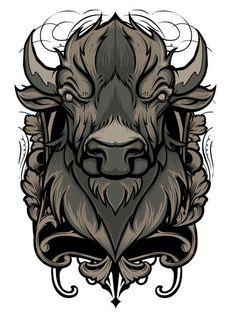 Идеи для татуировки: Бык (эскизы и работы) #1 тату, tattoo, длиннопост, бык, телец, арт, эскиз
