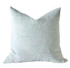 Decorative Pillow Green Blue Cover - Sea Foam Water Aqua Cream Geometric - Designer Pillow  - Throw Pillow
