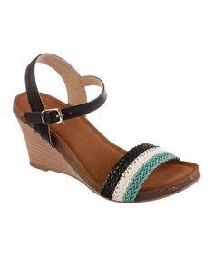 Black & Teal Rumor Has It Wedge Sandal #zulily #zulilyfinds
