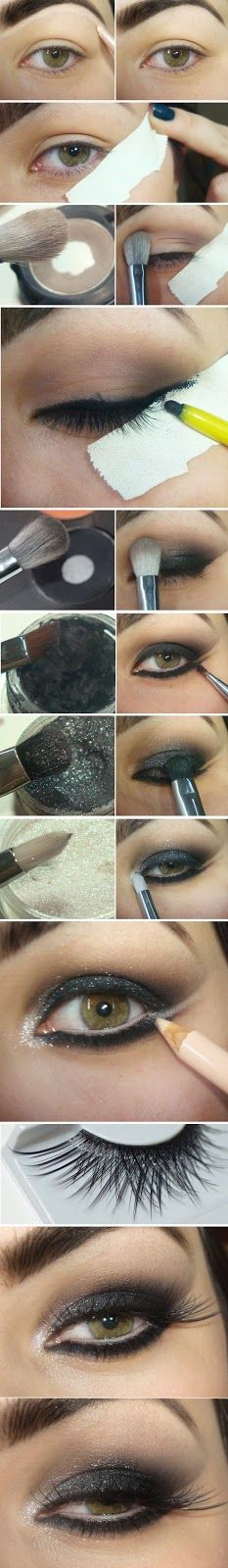 Black Shine Cat Eye Makeup Tutorials - Step by Step / Best LoLus Makeup Fashion http://thepageantplanet.com/category/hair-and-makeup/
