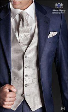 Navy morning dress coat, silver vest and tie, striped grey trousers. Traje de novio azul 962 ONGala Wedding suit