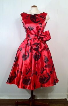 1950s reproduction red cocktail dress