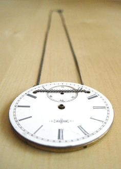 Vintage Watch Face Necklace - Antique Jewelry - Pocket Watch Pendant.