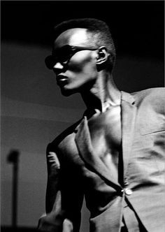 Grace Jones...do you see her cheekbones and that chest and that suit?  Sheesh.