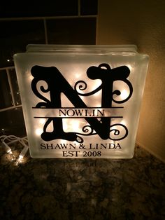 Custom monogram glass block- great for wedding gifts or special occasion gifts for those people who have everything!!