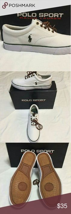 White Polo Canvas sneakers Ralph Lauren Forestmont 2 white and hunter green with brown tie up laces. Size 10 D. Polo by Ralph Lauren Shoes Sneakers