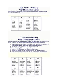 FCE (First Certificate) Word Formation: Verbs There are four main prefixes/suffixes used when making verbs, which you shou...