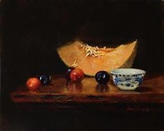 Asian Cup and Melon by LOIS EAKIN Oil ~ 8 x 10