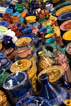 Moroccan pottery~Photographer: vincent_ruf     Description: Typical Moroccan pottery on the market in the new Medina in Casablanca