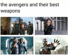 The avengers and their best weapons - iFunny :) Marvel Films, Marvel Characters, Marvel Avengers, Marvel Comics, Funny Marvel Memes, Avengers Memes, Marvel Jokes, Superhero Memes, Disney Marvel