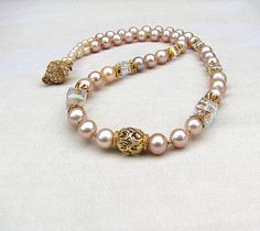 Blush pink necklace Crystal and pearl necklace Gold beaded necklace Single strand romantic pearl jewelry Bridal wedding  beaded jewelry