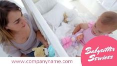 A creative babysitter ad video templates. A pink text box displaying babysitter services. A cute background of a mother and baby. Cute Backgrounds, Mother And Baby, Babysitting, Toddler Bed, Ads, Templates, Creative, Pink, Child Bed