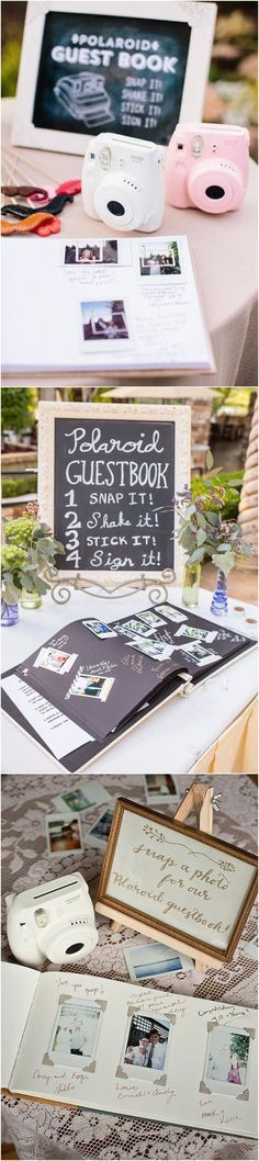 Polaroid inspired unique wedding guest book ideas #weddingideas