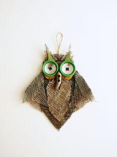 Owl Wall Decor Burlap Mirror Eyes OOAK Green by CozyHomeStore, $14.80