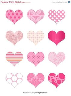 Clip art and Printable digital collage pink hearts jpg and png Saint Valentine, Valentine Heart, Valentines Day, Diy And Crafts, Arts And Crafts, Paper Crafts, Scrapbook Paper, Scrapbooking, Theme Mickey