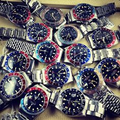 "#Rolex GMT Master II ""orgy"" Thanks : I thought I had too many GMTs with three but this guy takes the cake!"