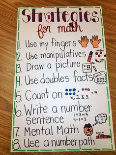 Strategies for Math - These strategies are helpful for students to use when solving word problems.