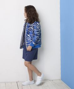 Electric blue jacquard zebra bomber, Milk & Biscuits