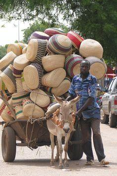 Africa | Basket vendor in Bolgataga. GHANA.