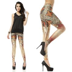 "Free shipping.Women Sexy ""Black Milk Style"" Stretchy La Trappistine Leggings .DK083 $10.99"