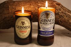 Beer Bottle Candle from Upcycled Guinness by CountryRichCreations