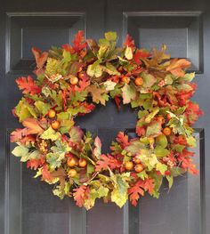 Thanksgiving Fall Leaves, Thanksgiving Wreath, Fall Berry Wreath, Thanksgiving Decor, Fall Wreaths. $65.00, via Etsy.