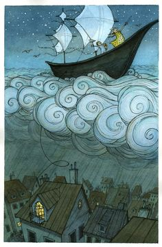 Illustration idea Kid's boat on the clouds, by Eliza Wheeler: children's book author and illustrator Art And Illustration, Book Illustrations, Illustration Children, Illustration Fashion, Fantasy Kunst, Fantasy Art, Kids Boat, Oeuvre D'art, Les Oeuvres