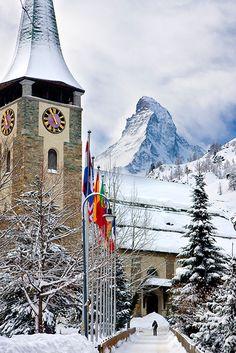 Church with Matterhorn beyond, Zermatt Switzerland
