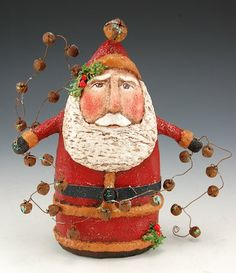 Santa with String of Bells | Santa Claus Figurines and Hand Carved Wooden Santas