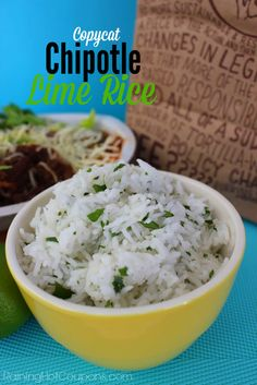 Copycat Chipotle Lime Rice.  I made this tonight for some black bean/red pepper burritos and it was so delicious I ended up eating some of it on its own as well.  Great recipe and very flavourful!