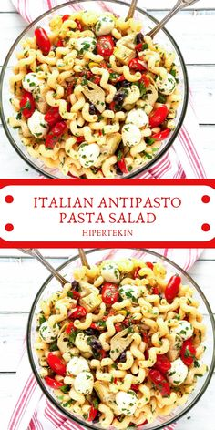 It's filled with all the delicious flavors of your favorite Italian antipasto tossed with a homemade dressing. Anti Pasta Salads, Antipasto Pasta Salads, Italian Antipasto, Easy Pasta Salad, Pasta Salad Italian, Pasta Salad Recipes, Lunch Recipes, Meat Recipes, Cooking Recipes