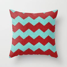 chevron - red and teal Throw Pillow by her art