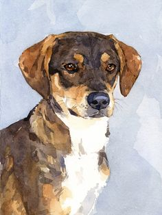 Custom Pet Portrait 8x10 Dog Watercolor Painting by studiotuesday
