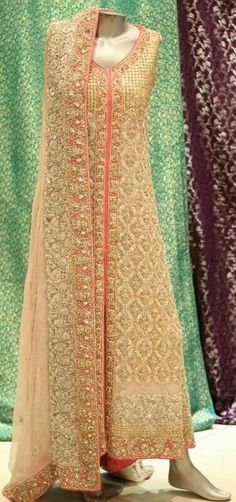 Gold and orange floor length salwar. Indian fashion.