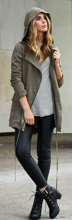 Casual fashion   Khaki jacket, striped top and leather booties