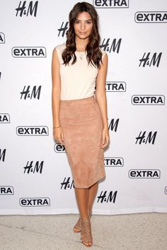 Who: Emily Ratajkowski What: A Suede Pencil Skirt Why: The We Are Your Friends star looked sophisticated yet sexy in this curve-hugging pencil skirt, paired with a neutral Atea Oceanie top and metallic Sophia Webster sandals. Get the look: Brunello Cucinelli skirt, $1,950, farfetch.com.