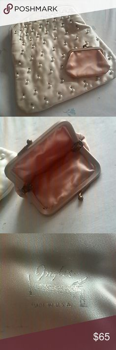 Vintage Ingber clutch purse, pearls & rhinestones Very rare. Peach satin fabric, mid-century,  coin purse included & excellent condition. Interior pockets, 9.5 by 9.5 inches. Small light stain on folded side. See next to last picture. Ingber Bags Clutches & Wristlets