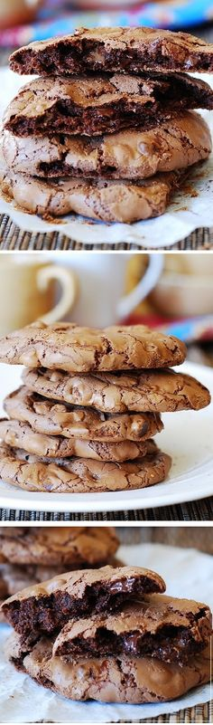 Outrageous chocolate cookies! Soft and chewy, they taste like a very good chocolate cake in a crispy shell.