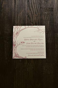 pastel rustic wedding invitation, wedding invitation with tree, letterpress